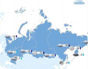 carte de Russie montrant des chutes de température